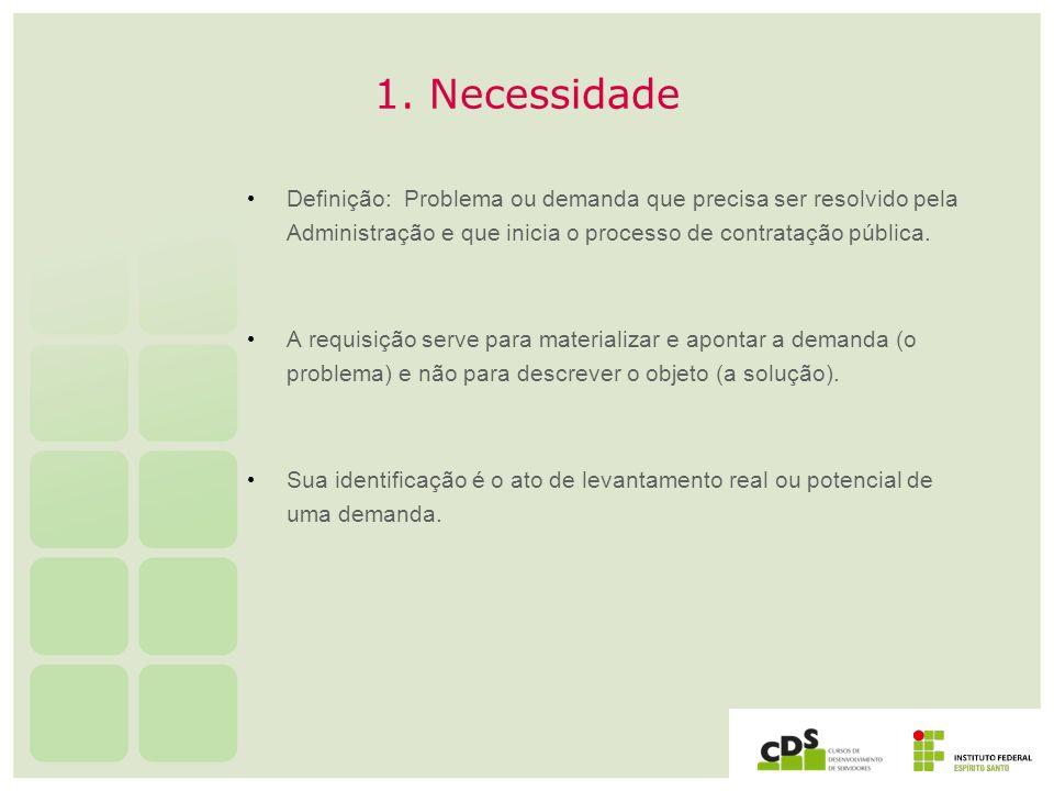 1. Necessidade Definição: Problema ou demanda que precisa ser resolvido pela Administração e que inicia o processo de contratação pública.