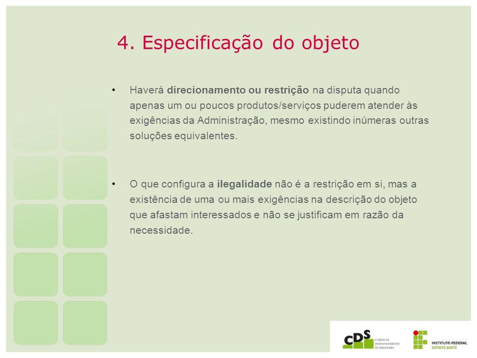 4. Especificação do objeto