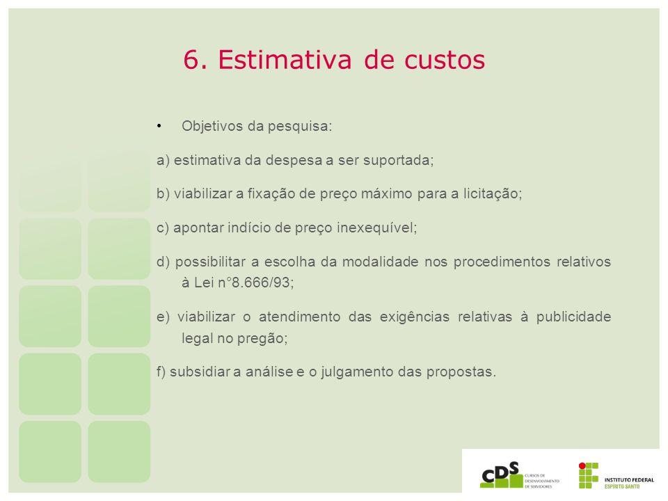 6. Estimativa de custos Objetivos da pesquisa:
