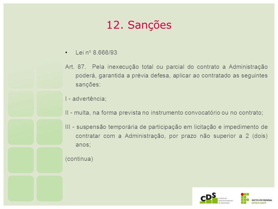 12. Sanções Lei nº 8.666/93.