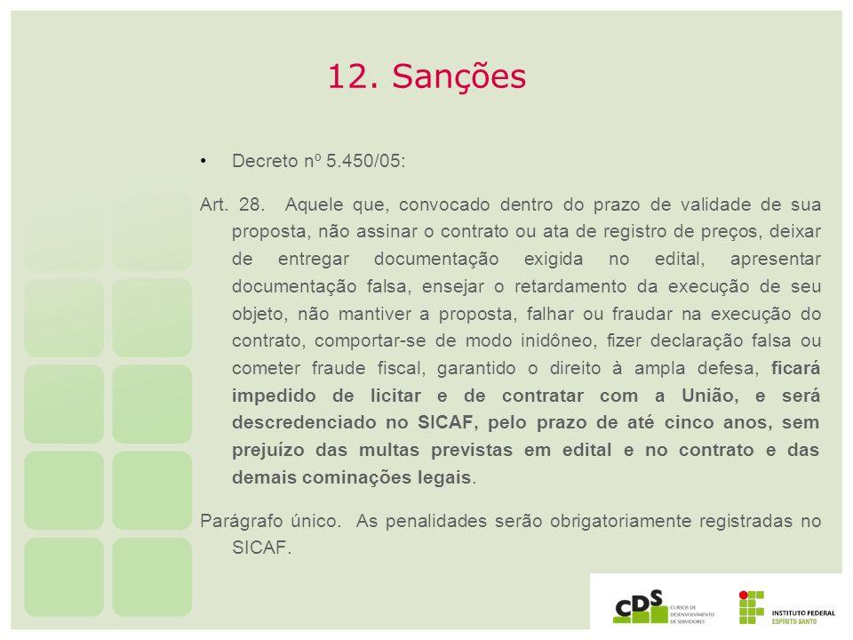 12. SançõesDecreto nº 5.450/05: