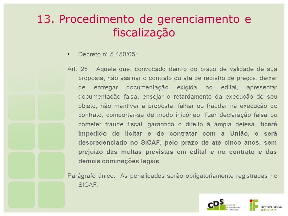 13. Procedimento de gerenciamento e fiscalização