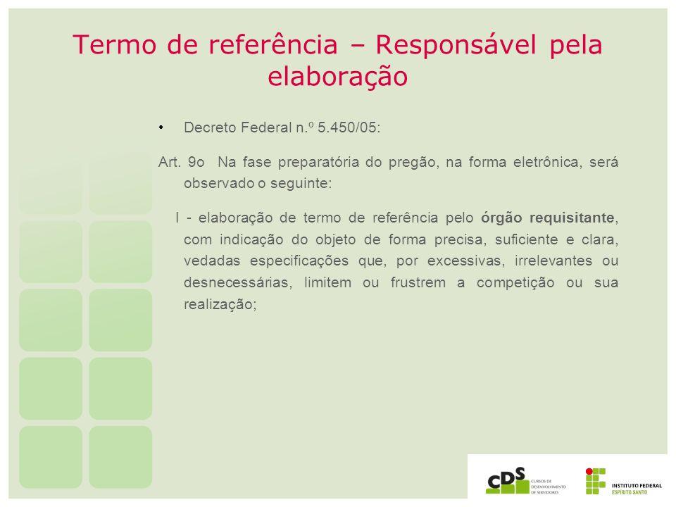 Termo de referência – Responsável pela elaboração