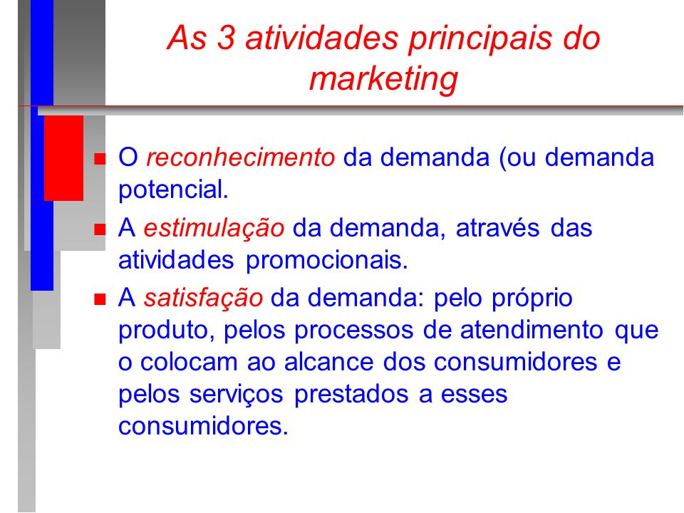 As 3 atividades principais do marketing