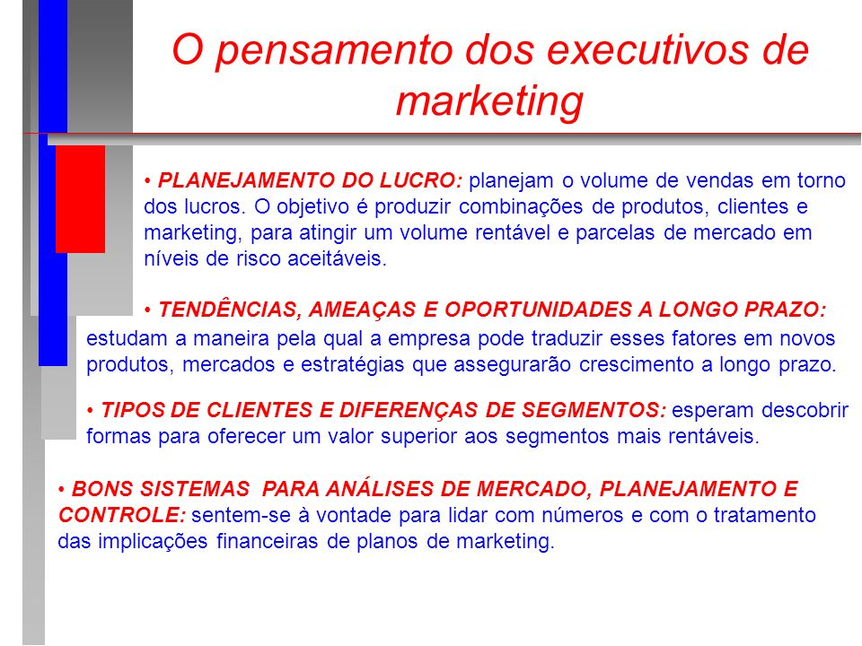 O pensamento dos executivos de marketing