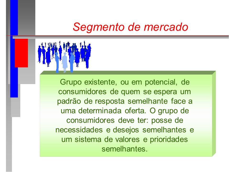 Segmento de mercado Grupo existente, ou em potencial, de