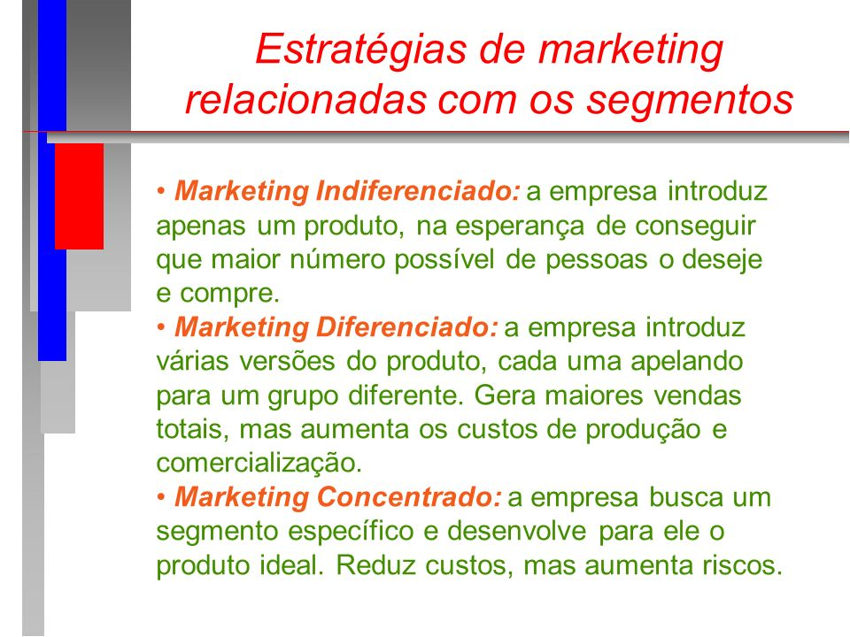 Estratégias de marketing relacionadas com os segmentos