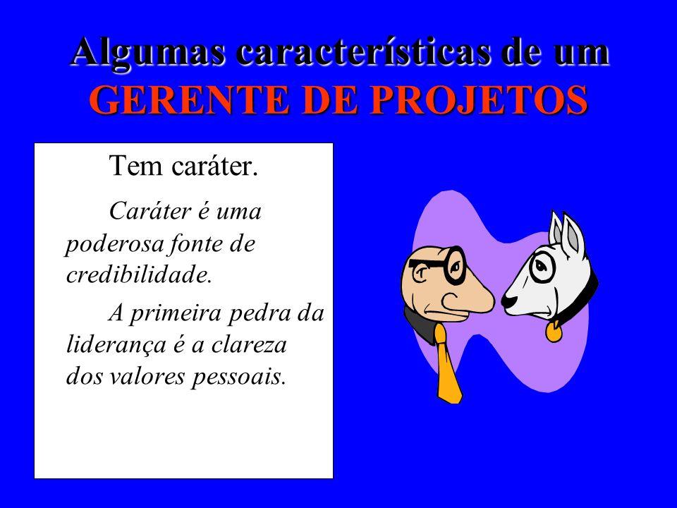 Algumas características de um GERENTE DE PROJETOS