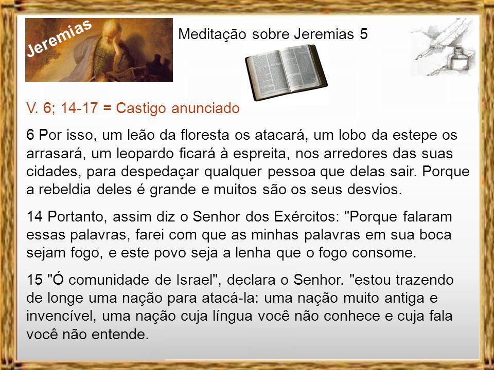 Jeremias Meditação sobre Jeremias 5 V. 6; 14-17 = Castigo anunciado