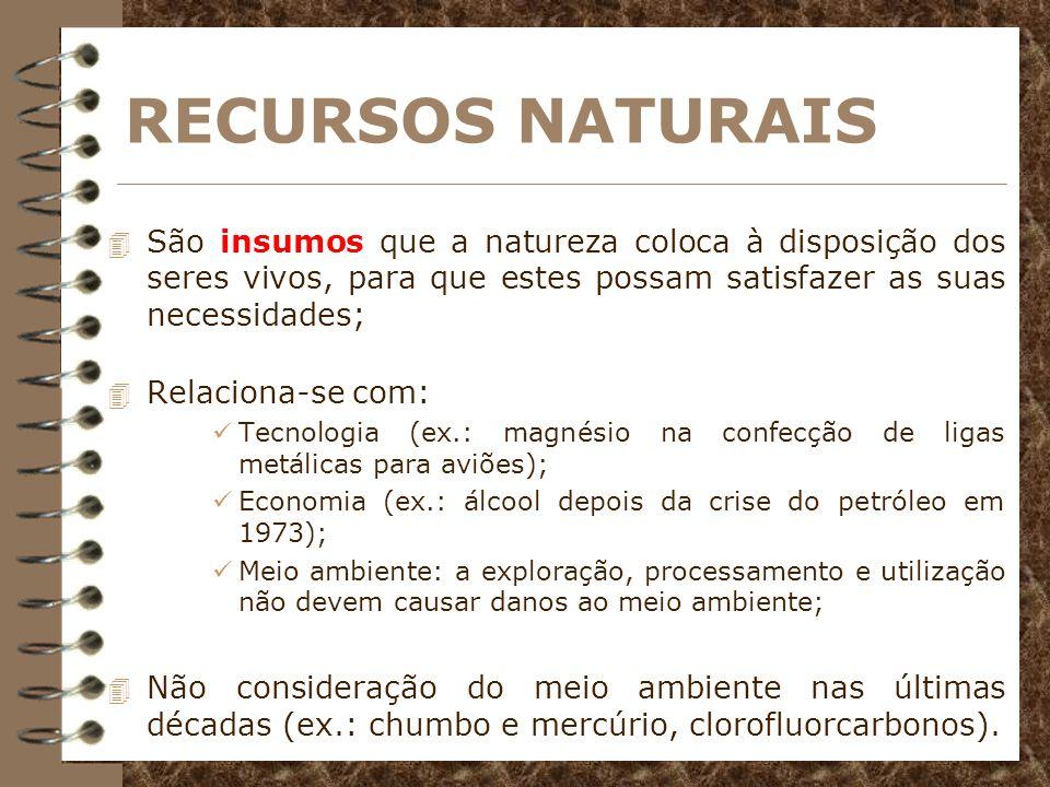 RECURSOS NATURAISSão insumos que a natureza coloca à disposição dos seres vivos, para que estes possam satisfazer as suas necessidades;