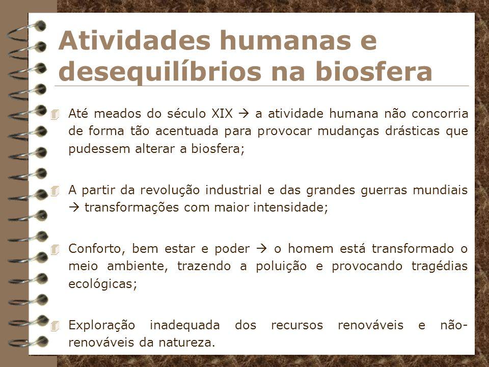 Atividades humanas e desequilíbrios na biosfera