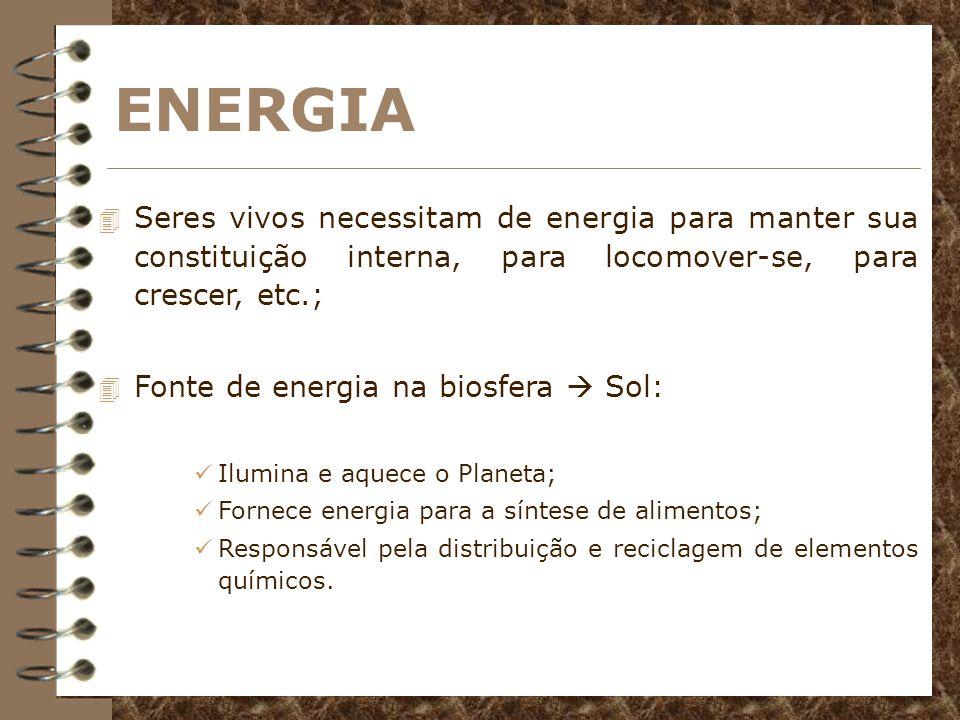 ENERGIASeres vivos necessitam de energia para manter sua constituição interna, para locomover-se, para crescer, etc.;