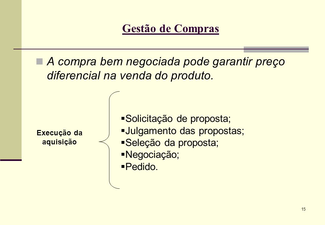 Gestão de Compras A compra bem negociada pode garantir preço diferencial na venda do produto. Solicitação de proposta;