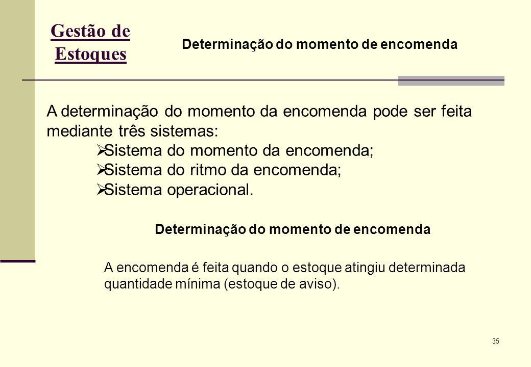 Gestão de Estoques Determinação do momento de encomenda. A determinação do momento da encomenda pode ser feita mediante três sistemas:
