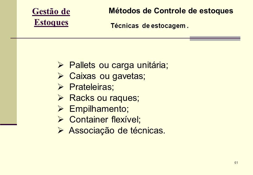 Pallets ou carga unitária; Caixas ou gavetas; Prateleiras;