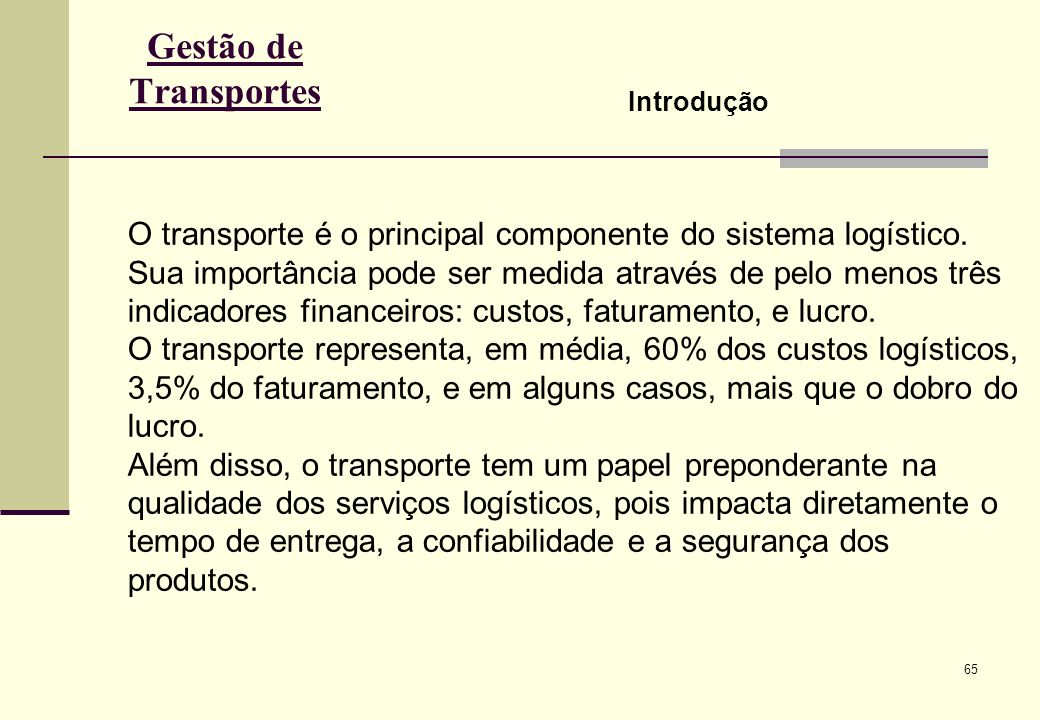 Gestão de Transportes Introdução.