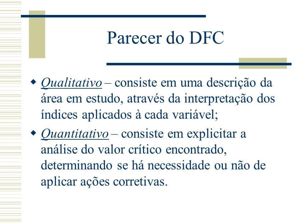 Parecer do DFC Qualitativo – consiste em uma descrição da área em estudo, através da interpretação dos índices aplicados à cada variável;