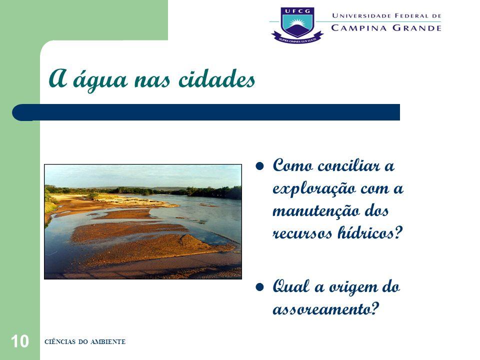 A água nas cidades Como conciliar a exploração com a manutenção dos recursos hídricos Qual a origem do assoreamento