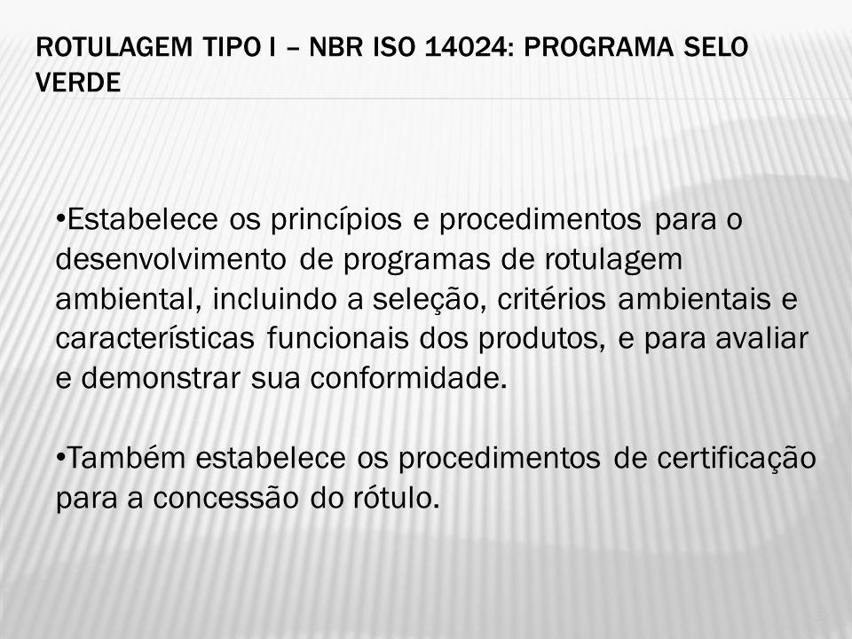 Rotulagem tipo I – NBR ISO 14024: Programa Selo Verde