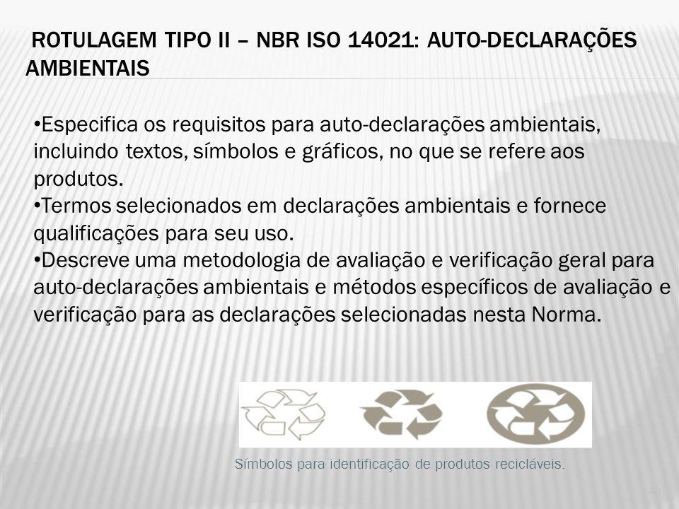 ROTULAGEM TIPO II – NBR ISO 14021: AUTO-DECLARAÇÕES AMBIENTAIS