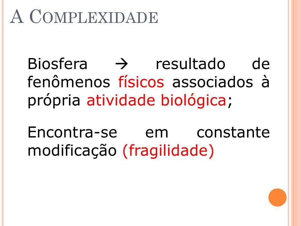 A Complexidade Biosfera  resultado de fenômenos físicos associados à própria atividade biológica;