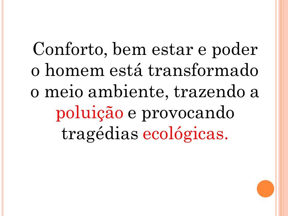 Conforto, bem estar e poder o homem está transformado o meio ambiente, trazendo a poluição e provocando tragédias ecológicas.