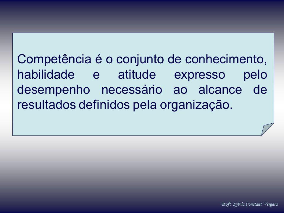 Competência é o conjunto de conhecimento, habilidade e atitude expresso pelo desempenho necessário ao alcance de resultados definidos pela organização.
