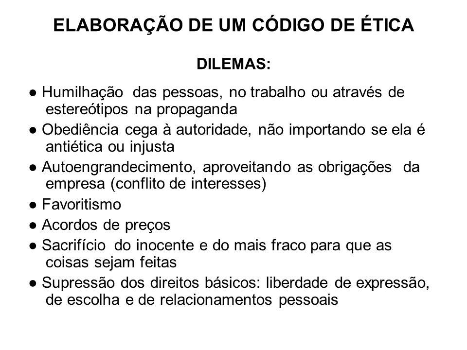 ELABORAÇÃO DE UM CÓDIGO DE ÉTICA DILEMAS: