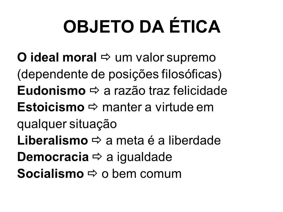 OBJETO DA ÉTICA O ideal moral  um valor supremo