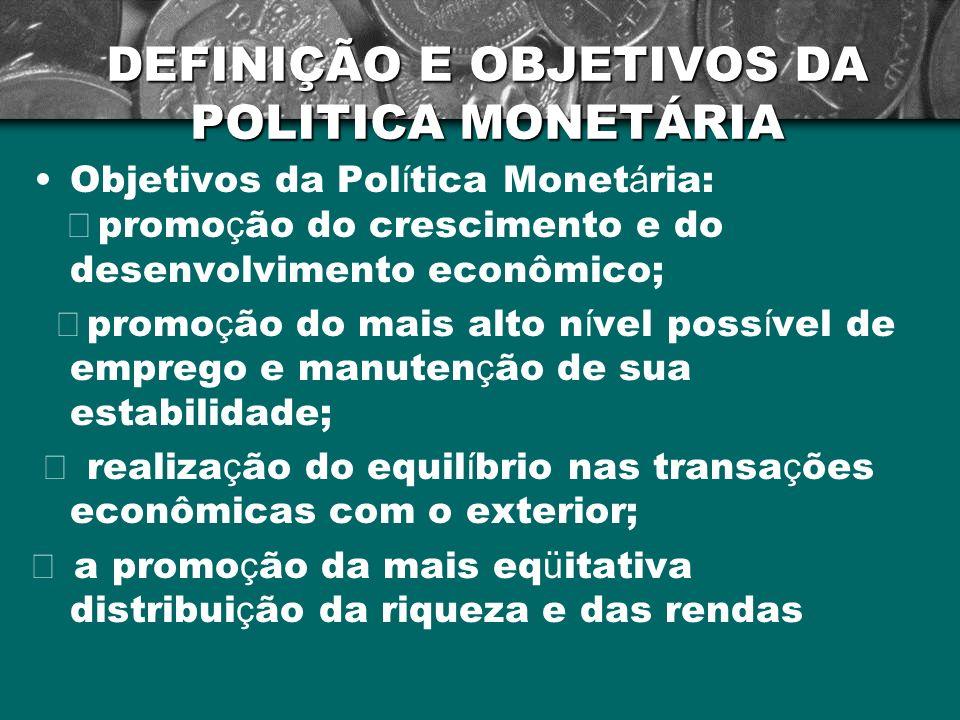 DEFINIÇÃO E OBJETIVOS DA POLITICA MONETÁRIA