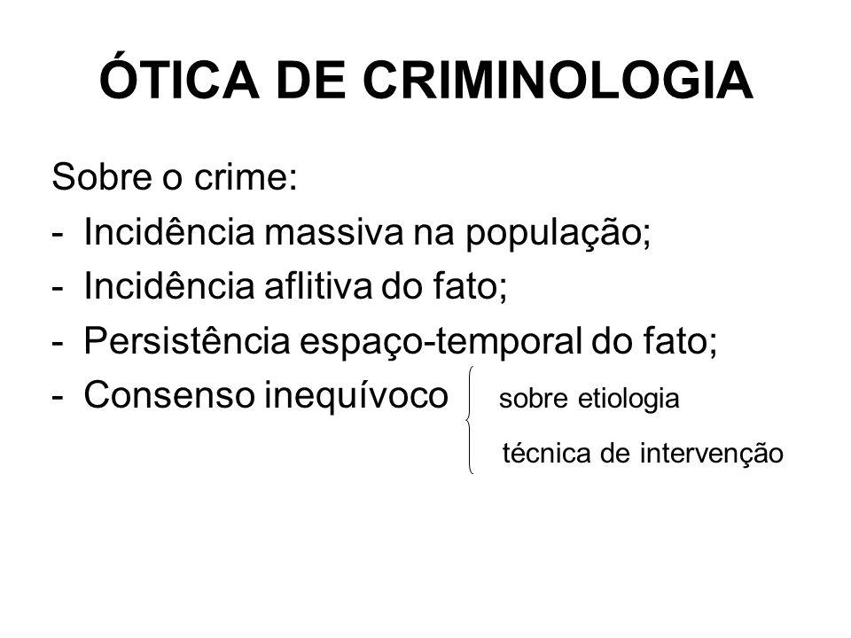 ÓTICA DE CRIMINOLOGIA Sobre o crime: Incidência massiva na população;