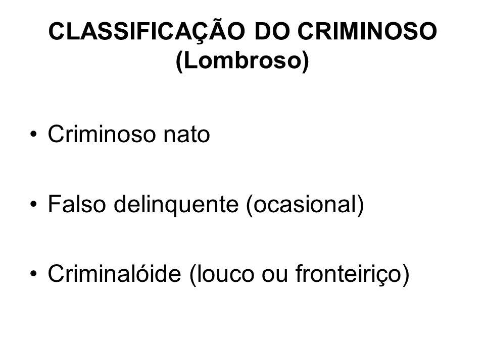 CLASSIFICAÇÃO DO CRIMINOSO (Lombroso)