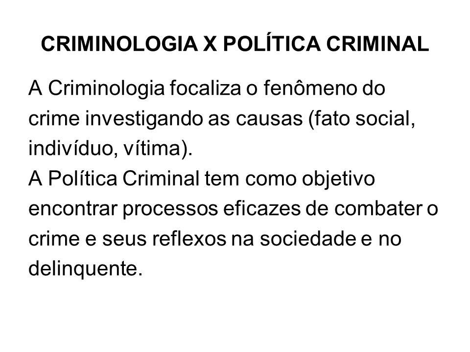 CRIMINOLOGIA X POLÍTICA CRIMINAL