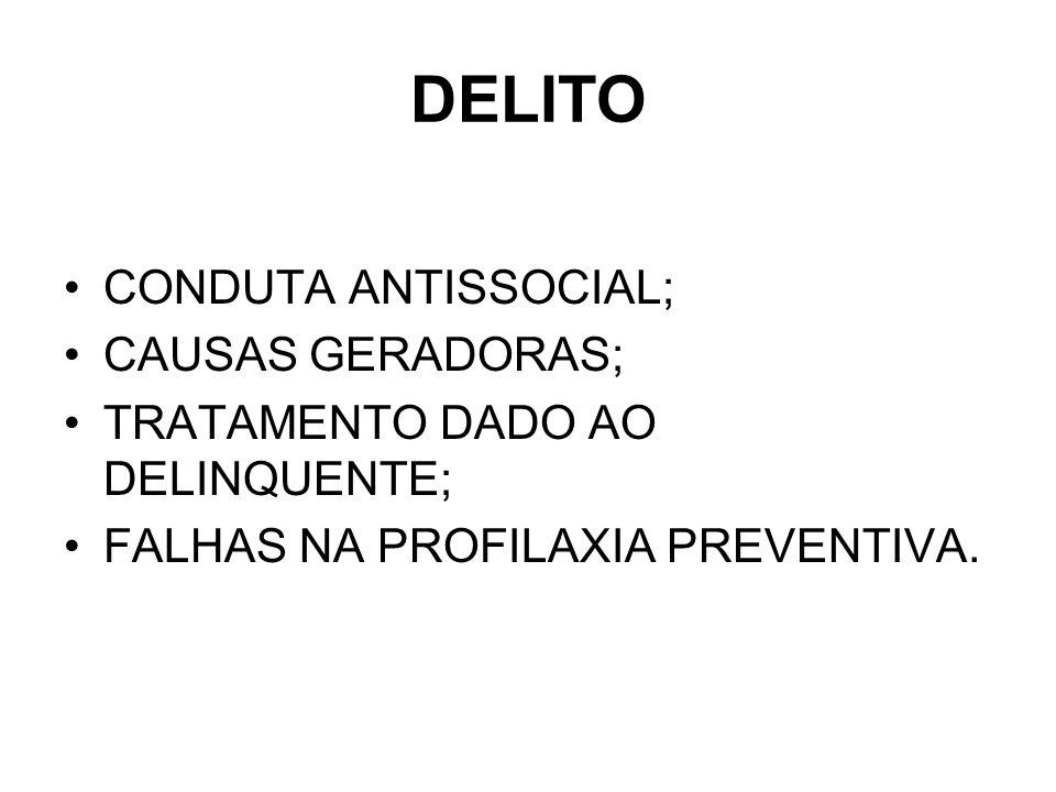 DELITO CONDUTA ANTISSOCIAL; CAUSAS GERADORAS;