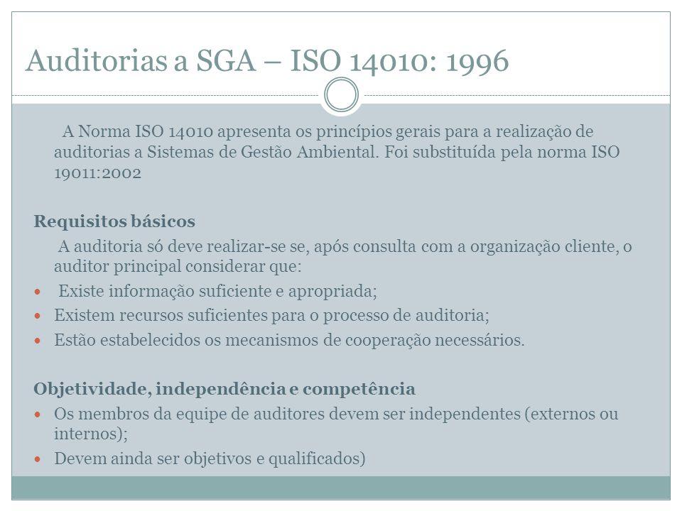 Auditorias a SGA – ISO 14010: 1996