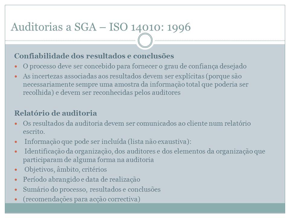 Auditorias a SGA – ISO 14010: 1996Confiabilidade dos resultados e conclusões.