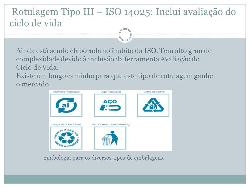 Rotulagem Tipo III – ISO 14025: Inclui avaliação do ciclo de vida