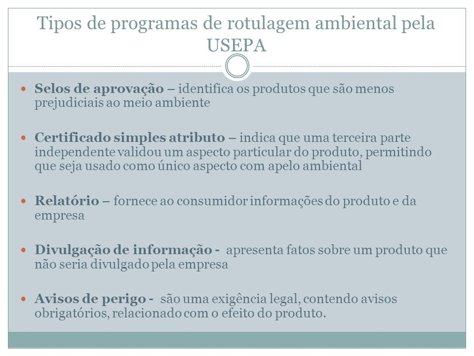 Tipos de programas de rotulagem ambiental pela USEPA