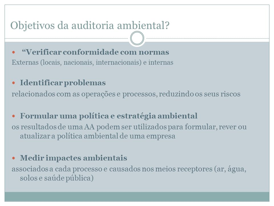 Objetivos da auditoria ambiental