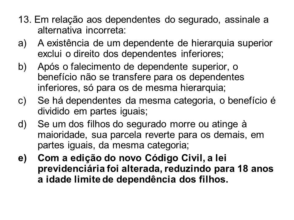13. Em relação aos dependentes do segurado, assinale a alternativa incorreta: