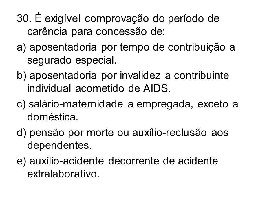 30. É exigível comprovação do período de carência para concessão de: