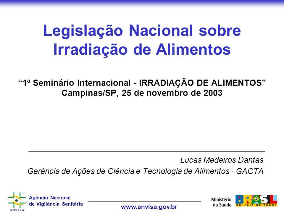 Legislação Nacional sobre Irradiação de Alimentos 1º Seminário Internacional - IRRADIAÇÃO DE ALIMENTOS Campinas/SP, 25 de novembro de 2003