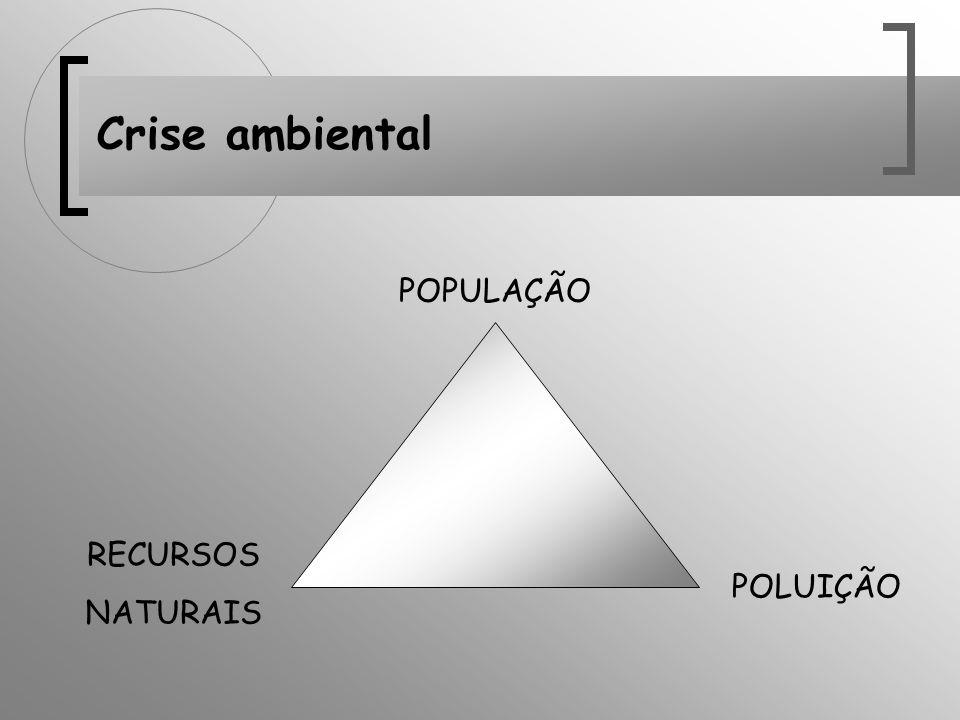 Crise ambiental POPULAÇÃO RECURSOS NATURAIS POLUIÇÃO