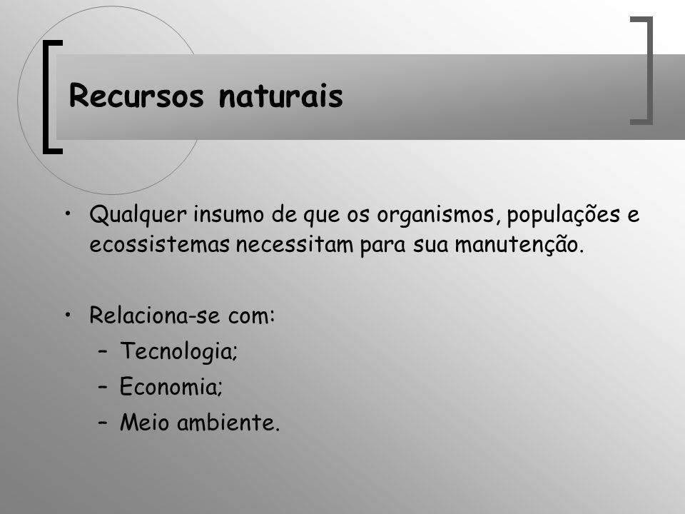 Recursos naturais Qualquer insumo de que os organismos, populações e ecossistemas necessitam para sua manutenção.