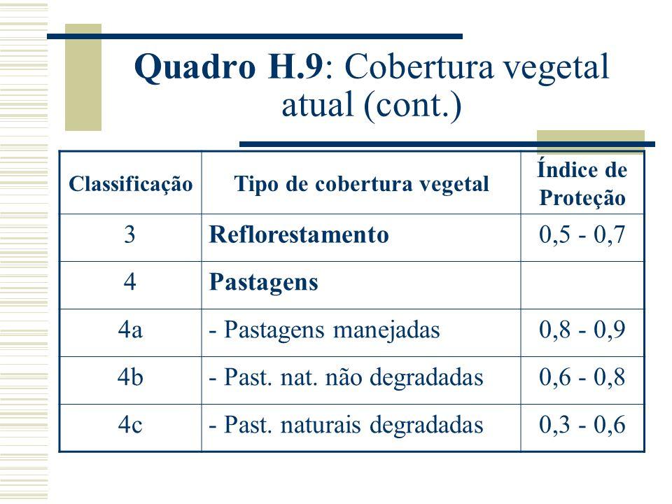 Quadro H.9: Cobertura vegetal atual (cont.)