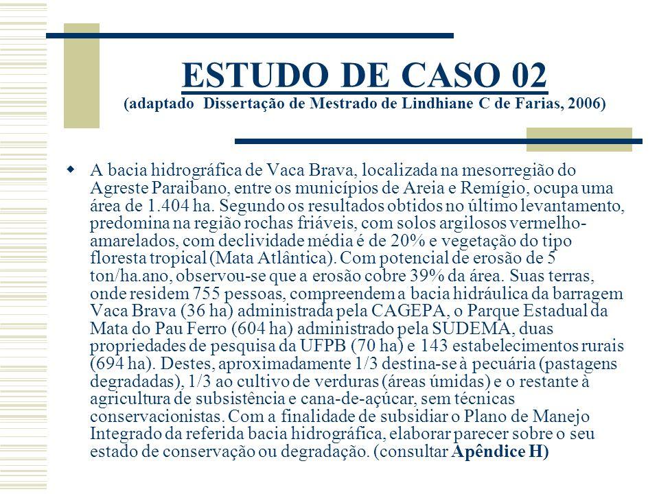 ESTUDO DE CASO 02 (adaptado Dissertação de Mestrado de Lindhiane C de Farias, 2006)