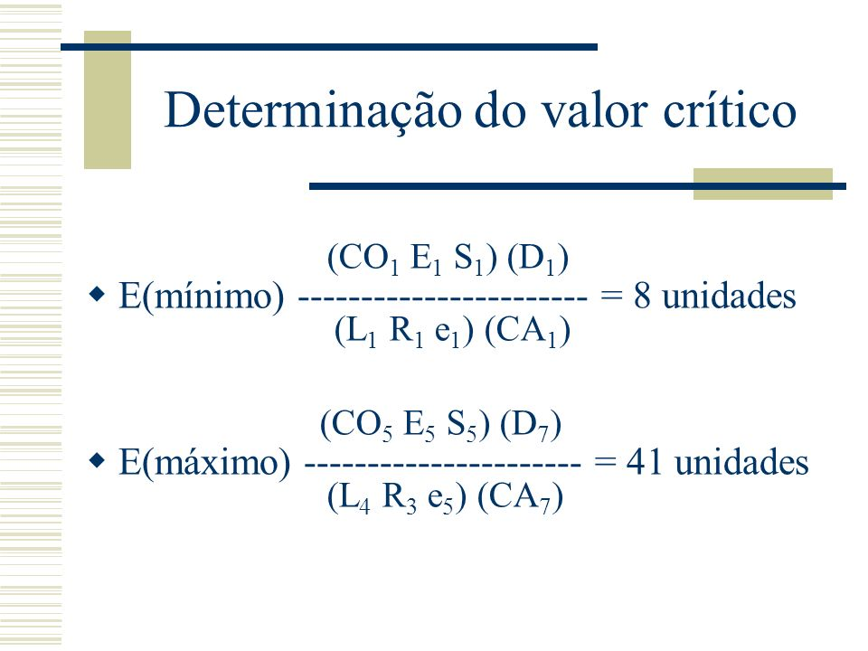 Determinação do valor crítico