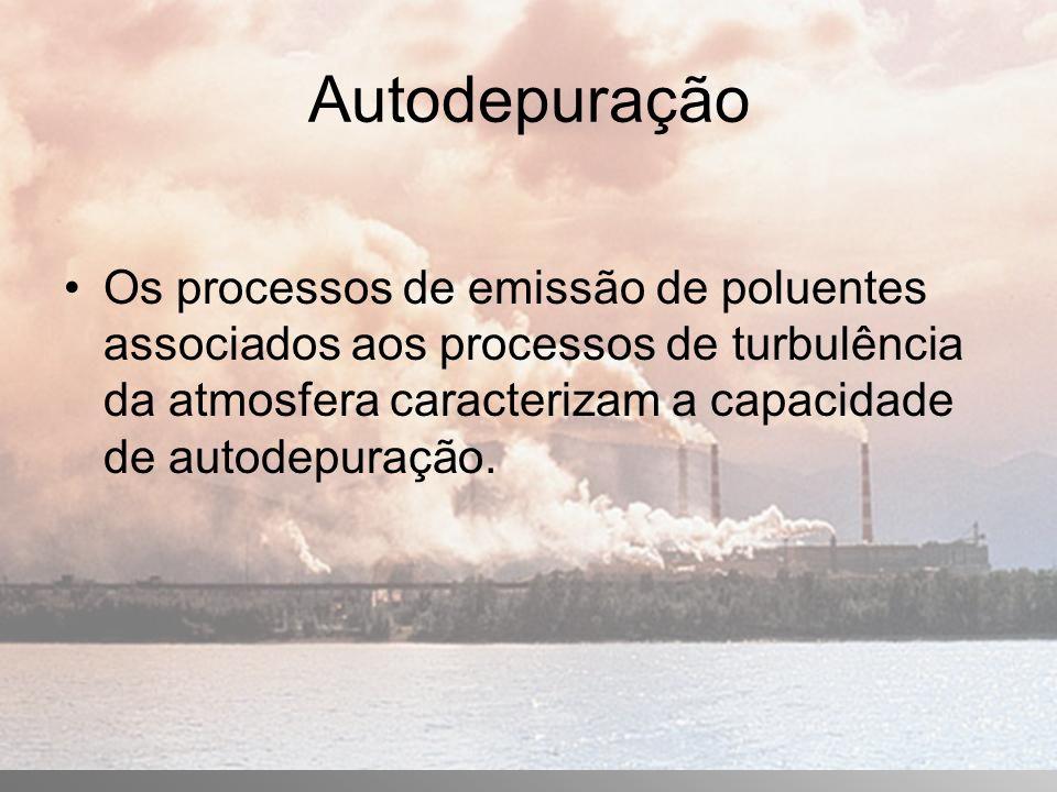 Autodepuração Os processos de emissão de poluentes associados aos processos de turbulência da atmosfera caracterizam a capacidade de autodepuração.