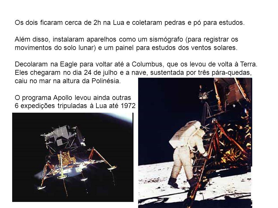 Os dois ficaram cerca de 2h na Lua e coletaram pedras e pó para estudos.