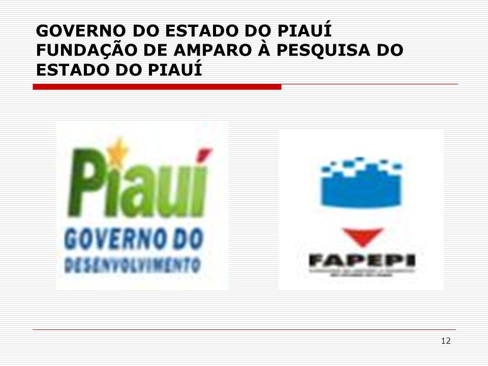 GOVERNO DO ESTADO DO PIAUÍ FUNDAÇÃO DE AMPARO À PESQUISA DO ESTADO DO PIAUÍ